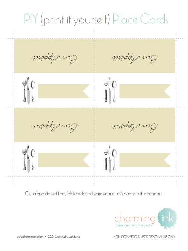 Sets Of Wedding Place Card Templates - Placement card template