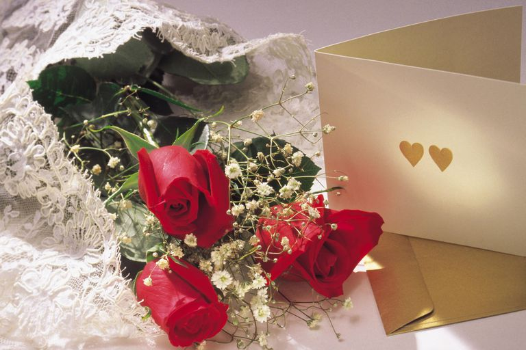 Valentine's card and flowers