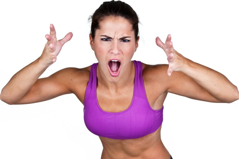 Angry fitness woman