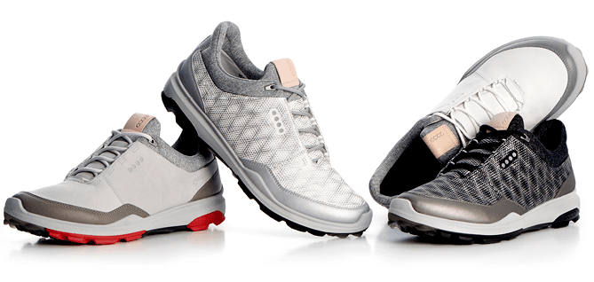 Various styles of the Ecco BIOM HYBRID 3 golf shoe.