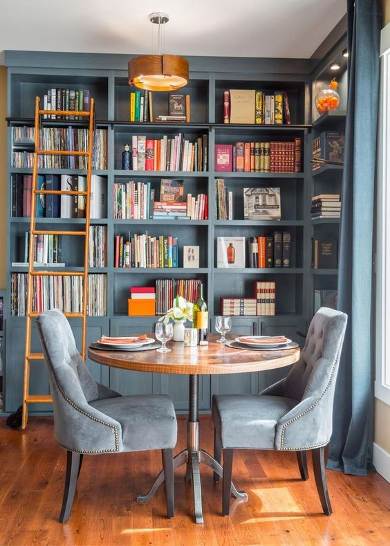 Blue and Brown Home Library