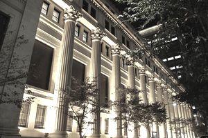 Illuminated Bank Buildings At Night