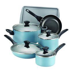 Farberware 15 Piece Dishwasher Safe Nonstick Cookware Set, Aqua