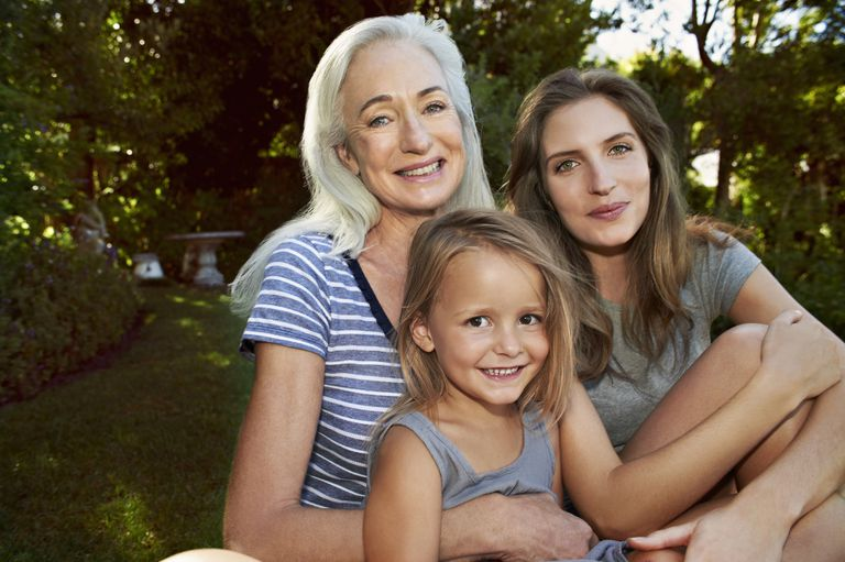 Grandmother, mother and daughter portrait, smiling