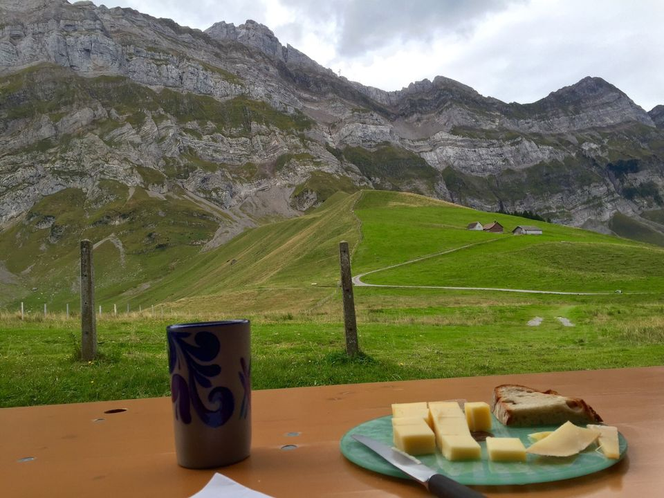 View Of Alpstein With Breakfast In Foreground