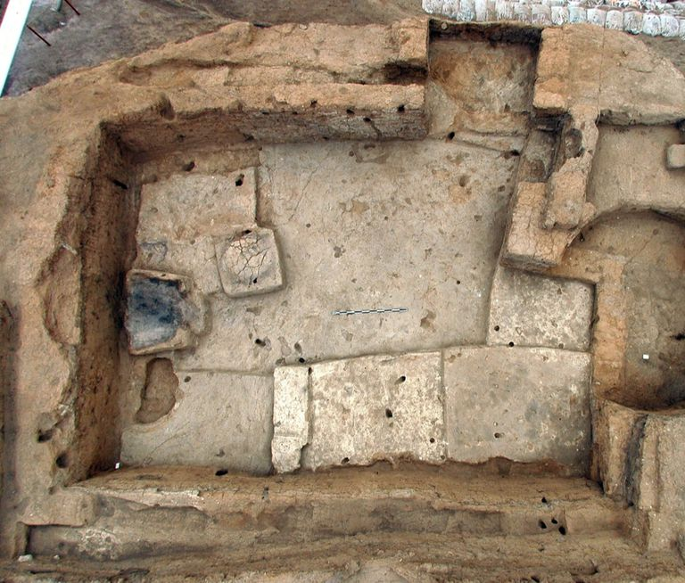 Rectified fisheye overhead shot of Building 56 in South Area of excavation.