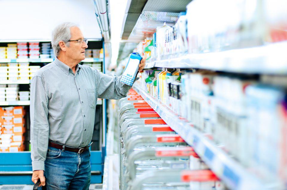 Man shopping for milk