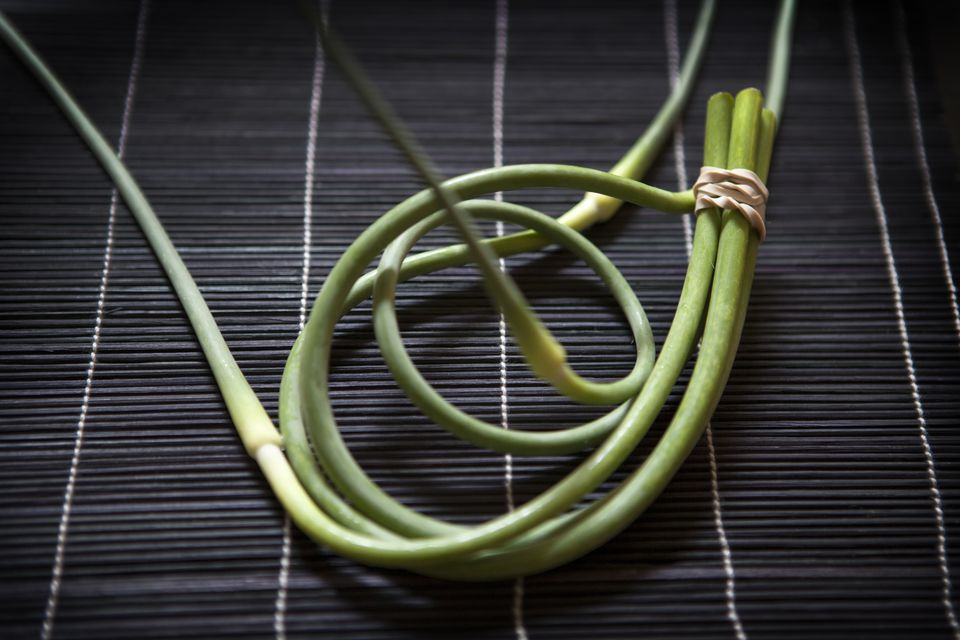 green garlic stalks