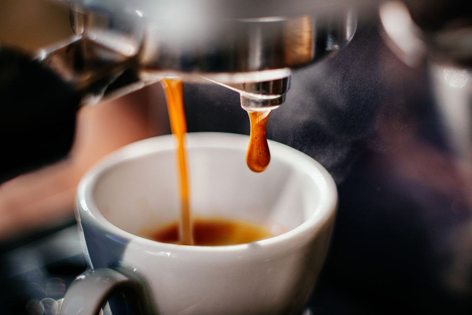Espresso shot pouring out.