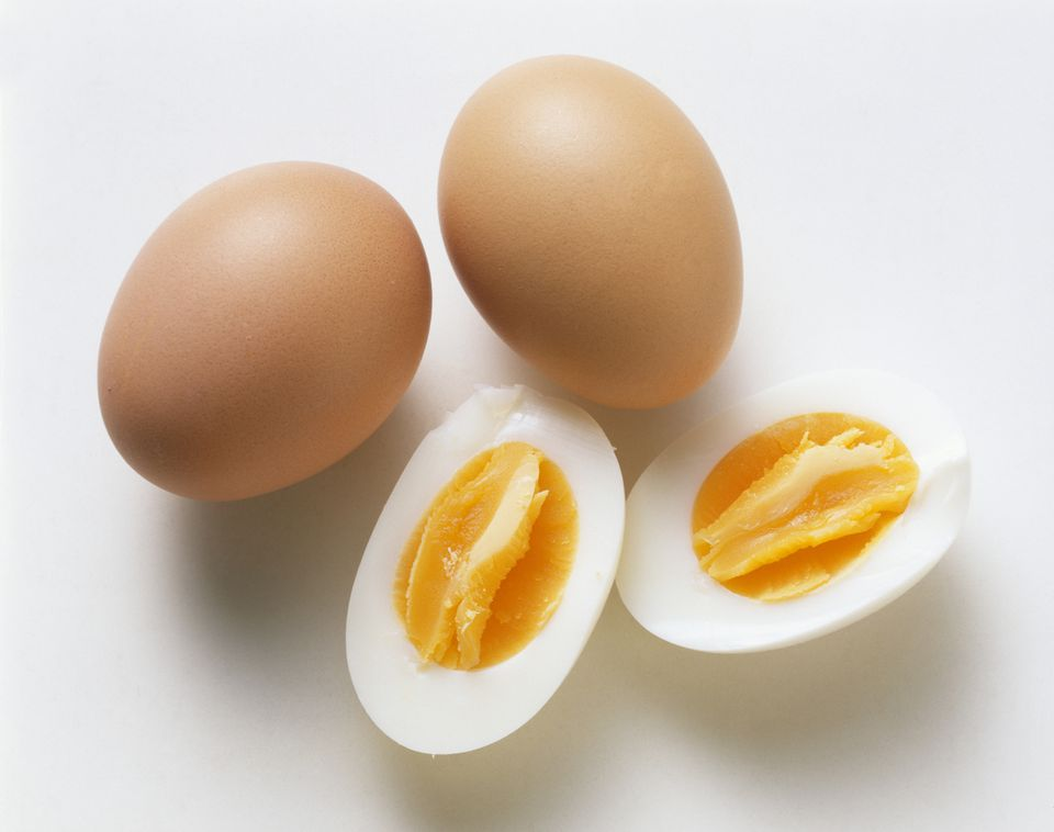 'Boiled eggs, with and without shells'