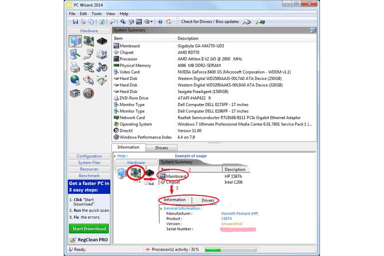 Screenshot of PC Wizard 2014 v2.13 in Windows 7