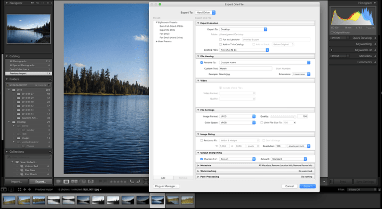 The Lightroom CC 2015 Exprort Dialgo Box is shown.