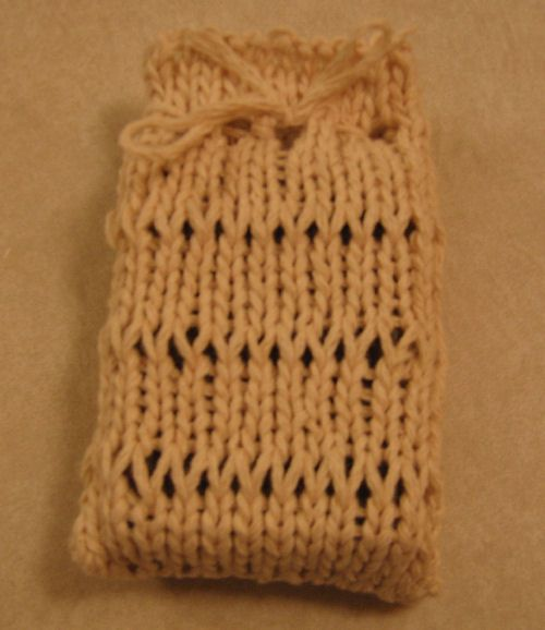Dropped stitch soap sack