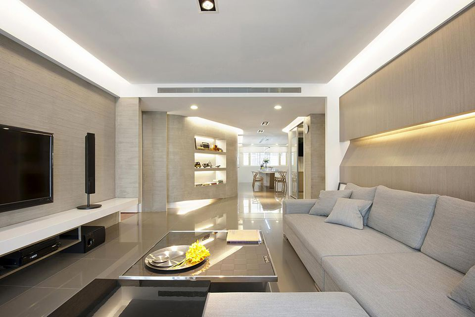 Gray sectional sofa in modern living space