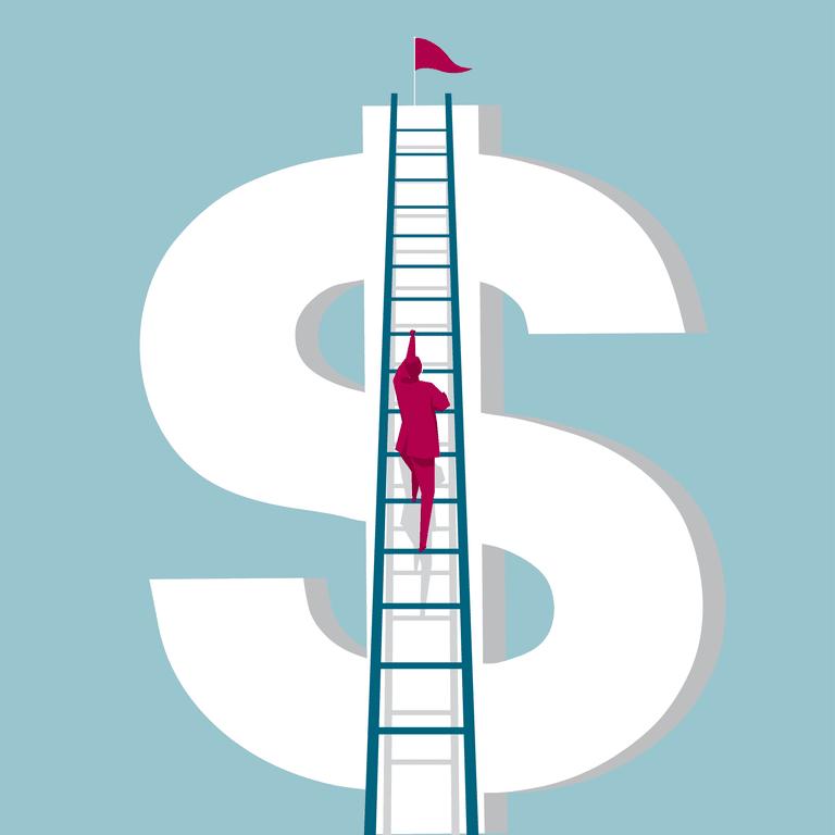 Man climbing dollar sign with ladder
