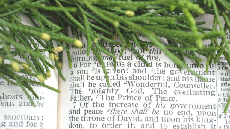 Greenery with Christmas scripture, Isaiah 9