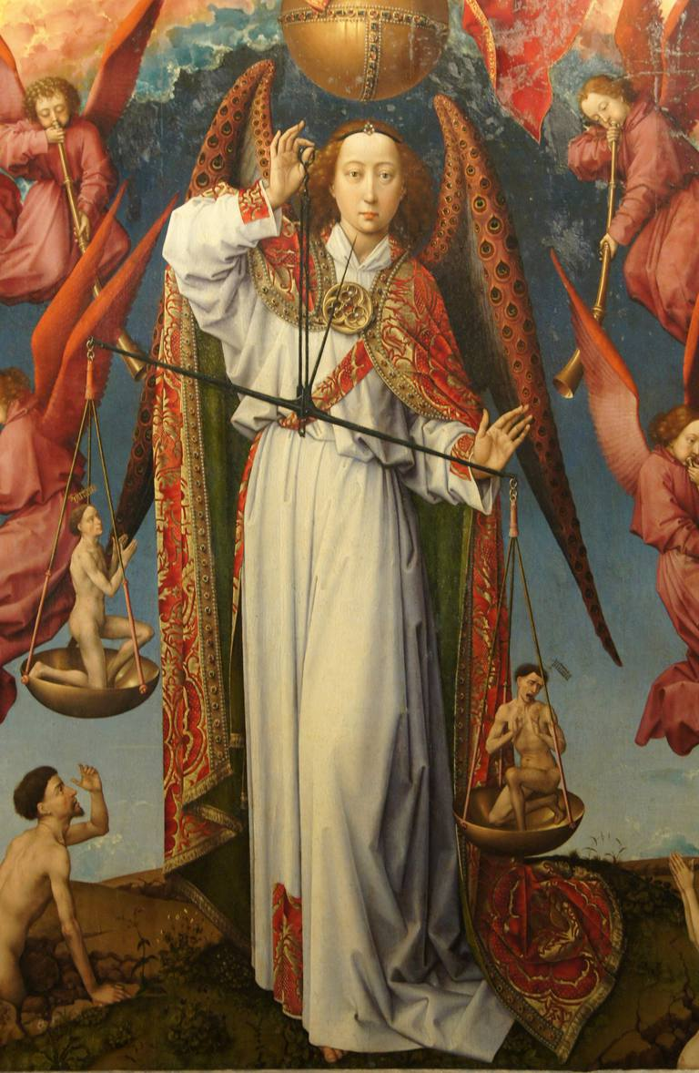 Archangel Michael weighing souls on scales Judgment Day