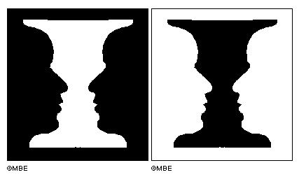 Negative space faces in a vase