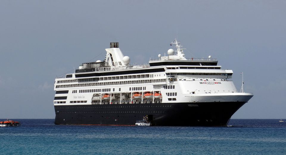 Holland America Veendam at anchor off Grand Cayman Island in the Caribbean