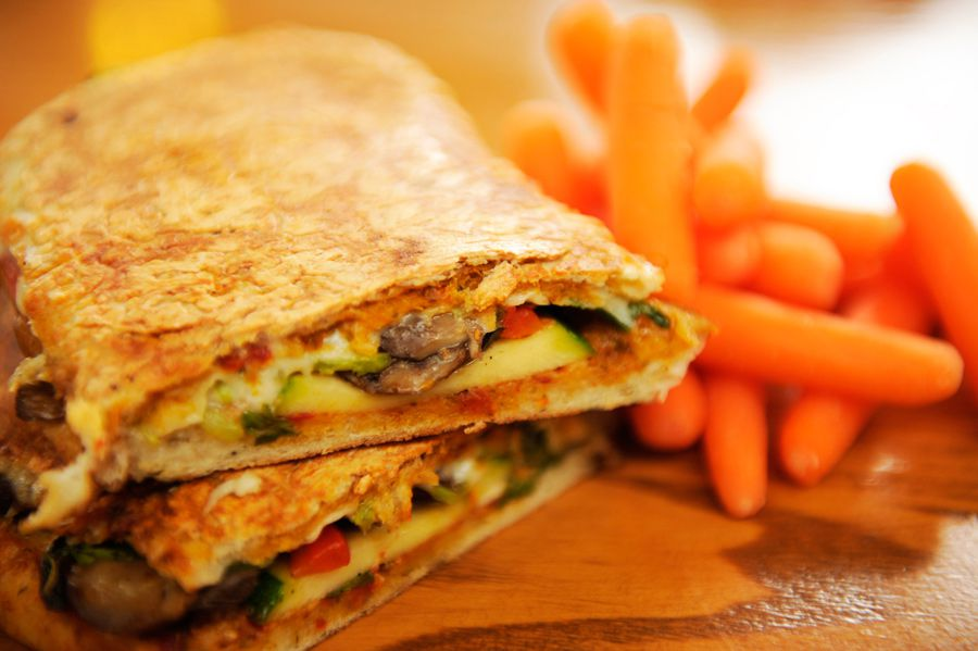 Grilled Vegetable Sandwich and Carrots