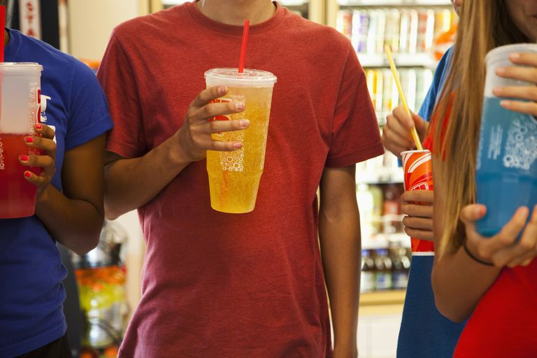 Teens often drink too many sugary soft drinks.