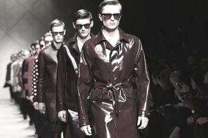 Models walk the runway during the Burberry Prorsum show