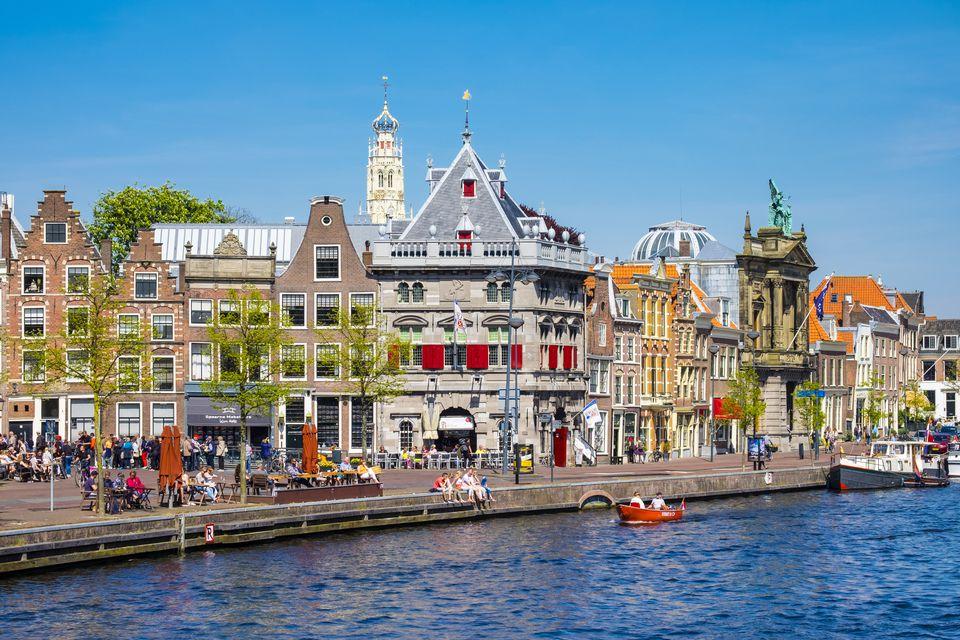 Netherlands, North Holland, Haarlem, Buildings along Spaarne River