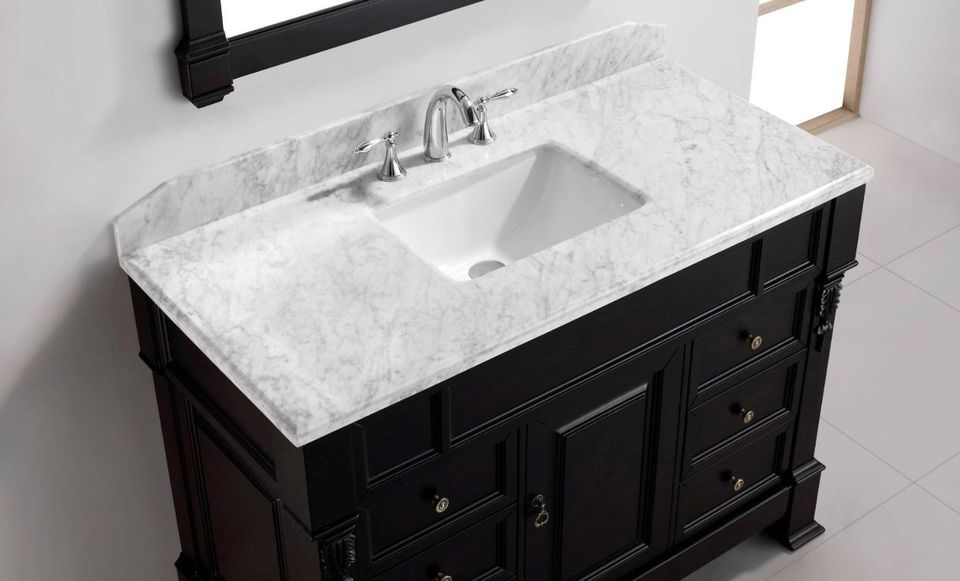 Single Basin Bathroom Vanity Top Huntshire Virtu Tops  DIY Solution for Bath Counters