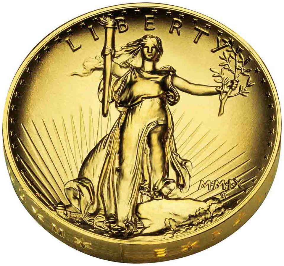 Ultra-High Relief Saint-Gaudens 2009 Gold Coin Obverse