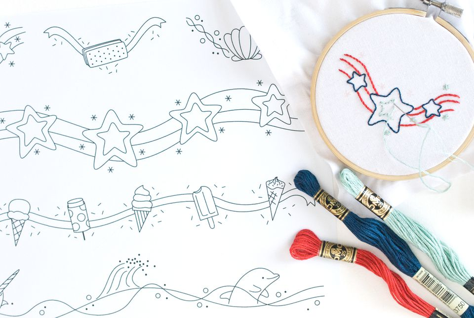 Summer Border and Corner Embroidery Patterns