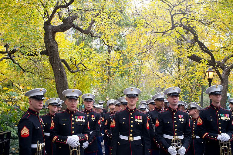 Marines in dress uniform lined up for Veteran's Day parade
