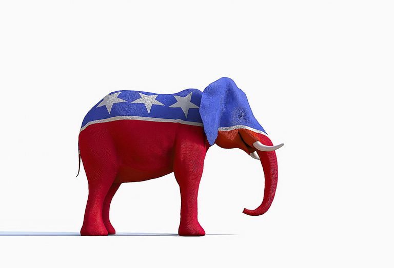 An elephant painted in the colors of the American flag symbolizes the Republican party. Learn about the 2016 Republican Party Platform here.