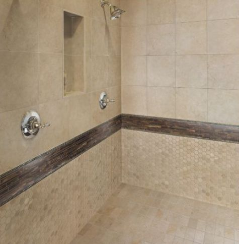 Beige Shower Tile with Large Tiles and Mosaic