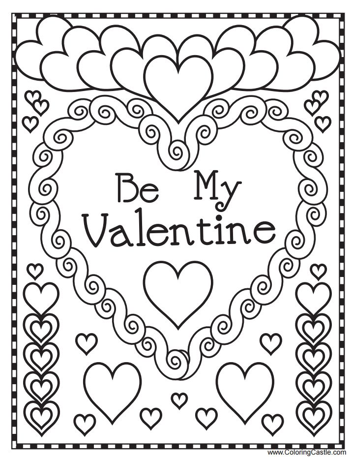 valentines day cards coloring pages - photo#31