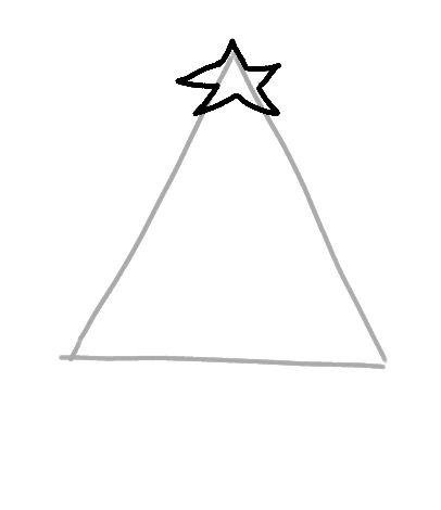 begin drawing a christmas tree
