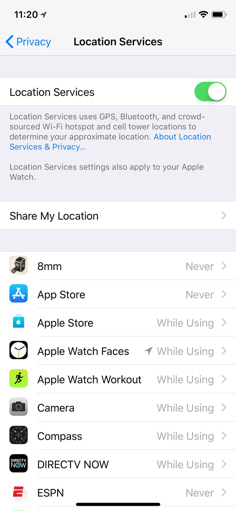 how to change location services on iphone 5