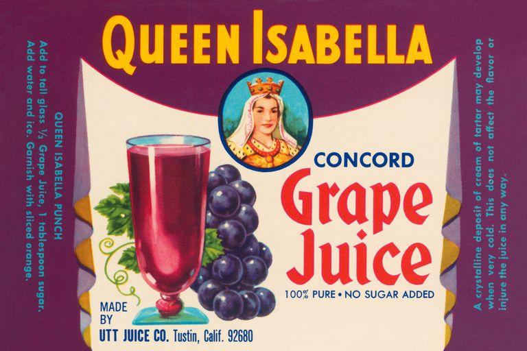 Queen Isabella Grape Juice Label