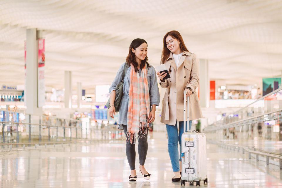 Ladies in airport