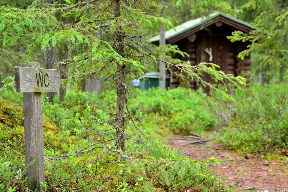 A WC or toilet in the forest with a sign showing the way.