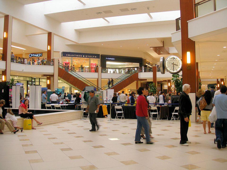 The interior of Aventura Mall, Aventura, Florida.