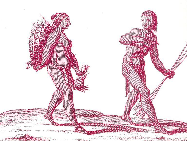 A woodcut fo Ka'lina hunter-gatherers