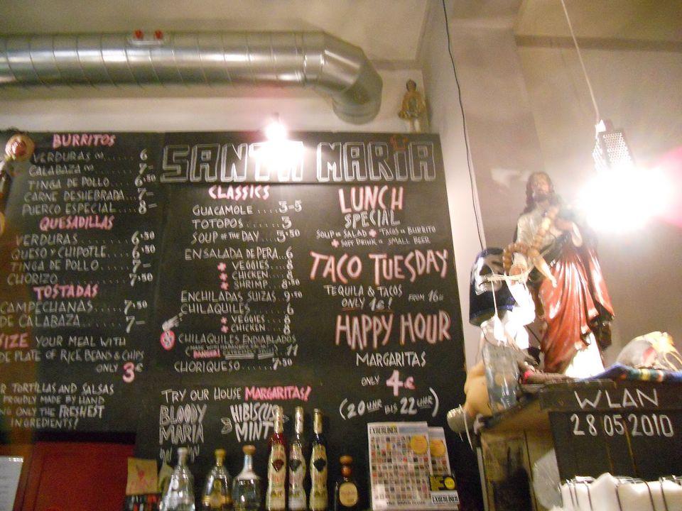 Santa Maria in Berlin menu