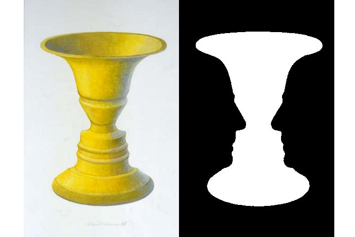 Rubin vase illustrating figure-ground perception