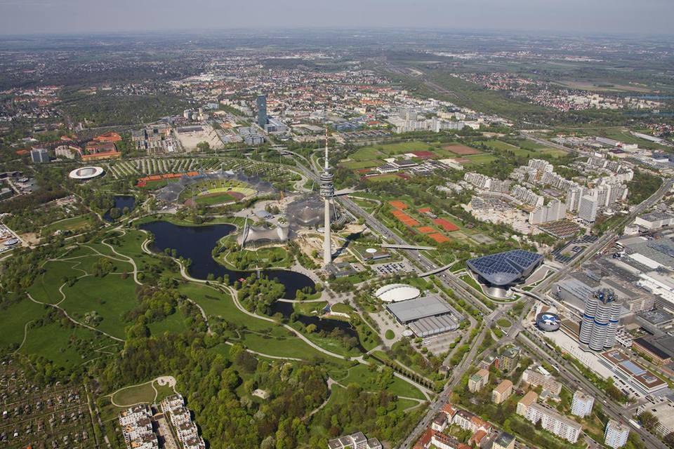 Aerial view of BMW headquarters and Olympic Park in Munich.