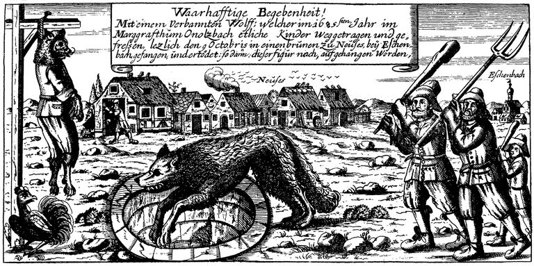 An old illustration showing the belief in and fear of werewolves.