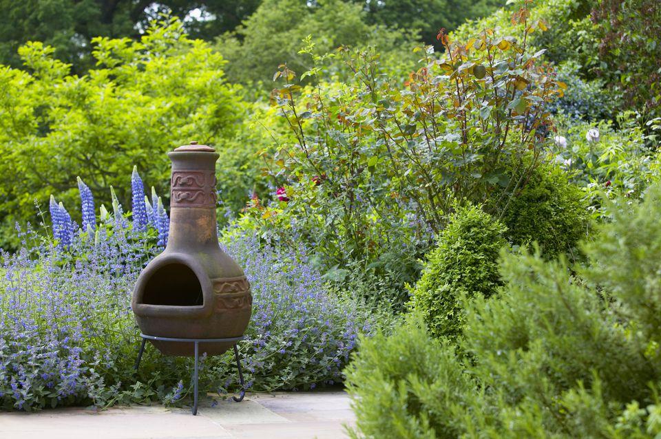 chiminea in garden