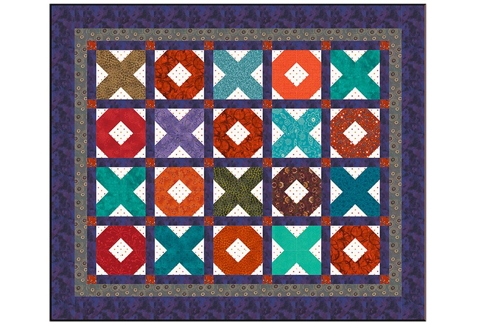 X's and O's Baby Quilt Pattern with Easy Sashing