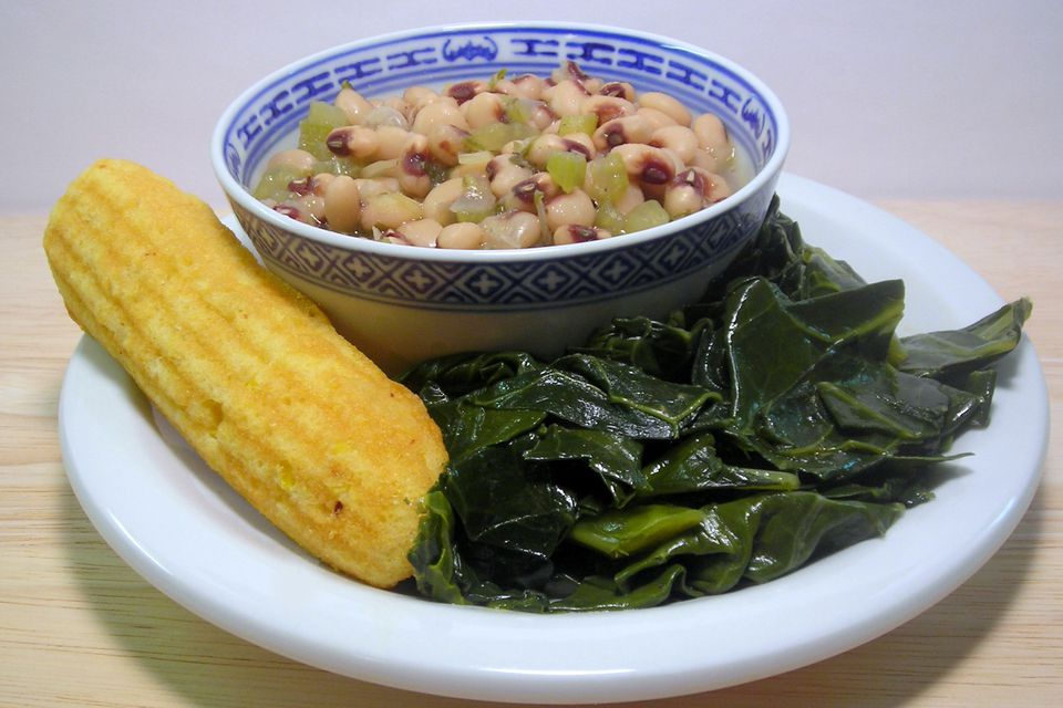 A Typical Black-Eyed Pea Meal With Collards