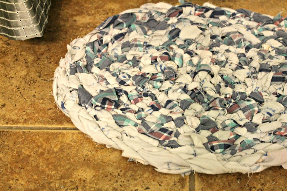 braided rag rug made from fabric scraps