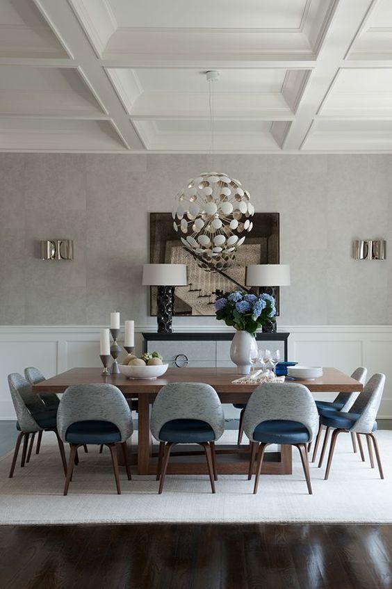 Gray Mid Century Modern Dining Room